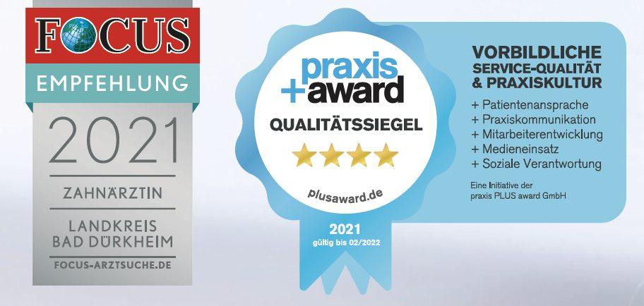Empfehlungssiegel von Focus-Gesundheit und Praxis+Award